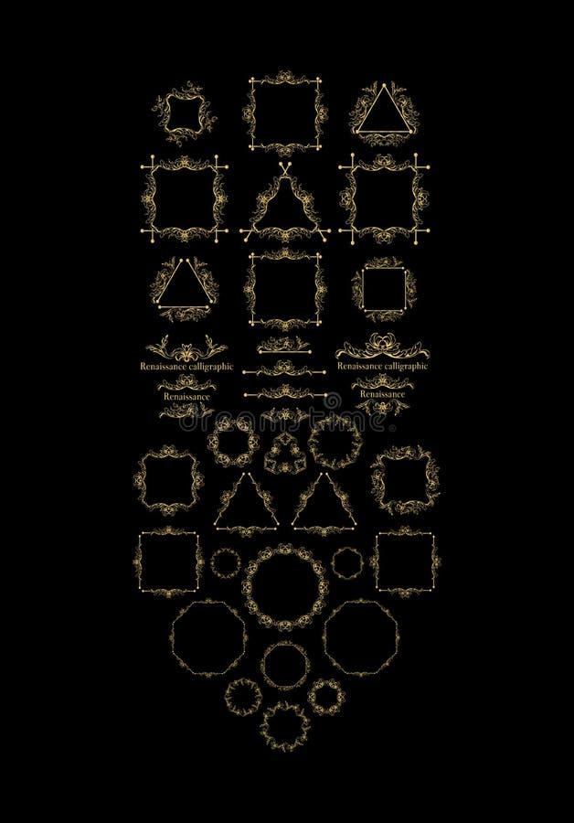 Vintage frame elements, golden on black vector illustration