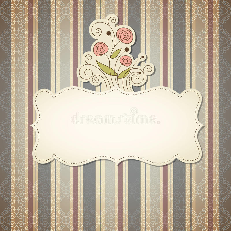 Vintage frame with flowers. Place for text
