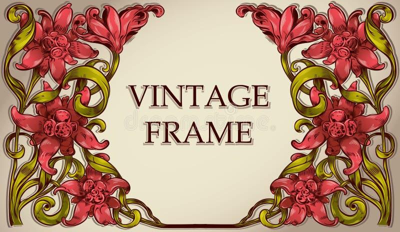 Vintage frame with flowers. stock illustration
