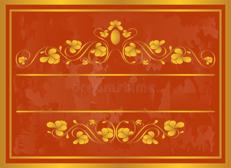 Vintage frame in gold. royalty free illustration