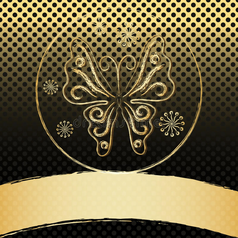 Vintage frame with gold butterfly stock illustration
