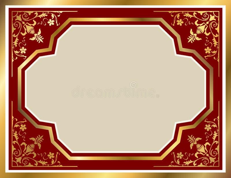 Vintage frame with gold floral ornament stock illustration