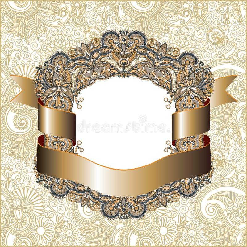 Vintage frame with gold ribbon stock illustration