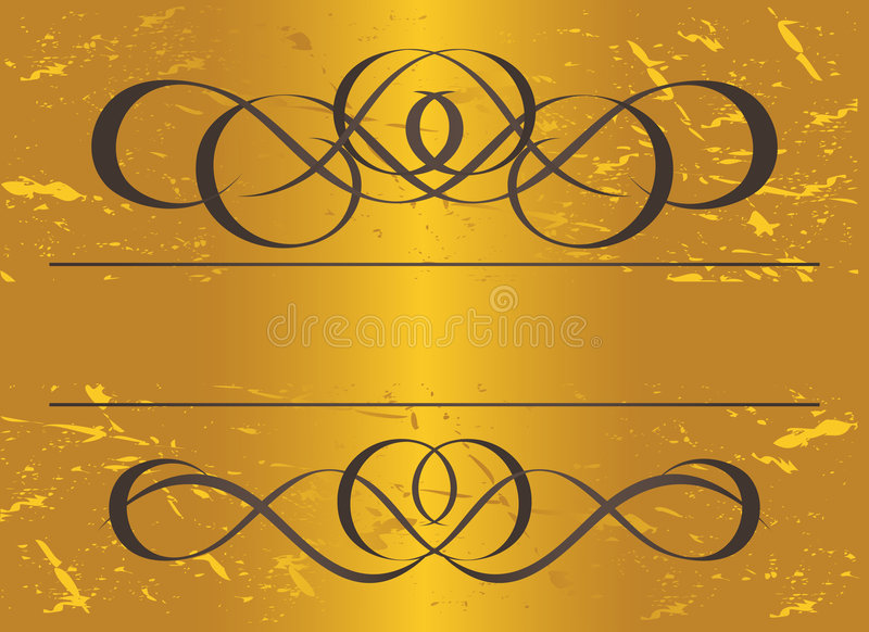 Vintage frame in gold. Symmetric inward. Vector Il