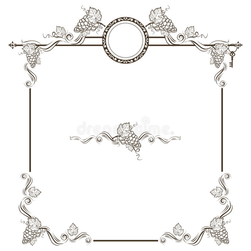 Vintage frame with grapes stock photos