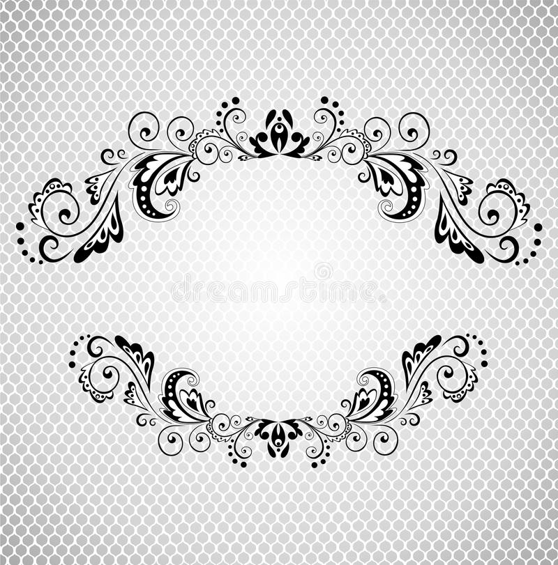 Download Vintage Frame With Lacy Background Black And White Stock Vector