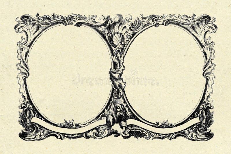 Vintage frame on old paper texture background stock illustration