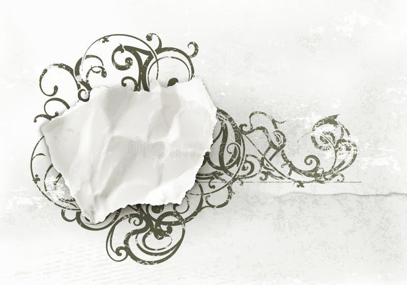 Vintage Frame, paper on wall. Computer illustration vector illustration