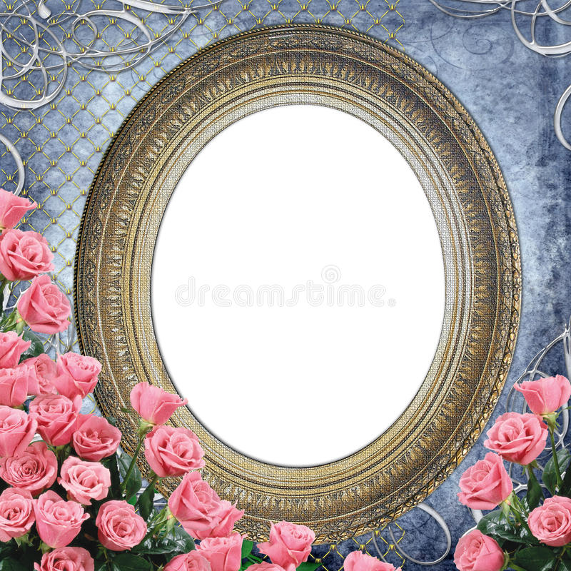 Vintage Frame for photo with  roses stock photos