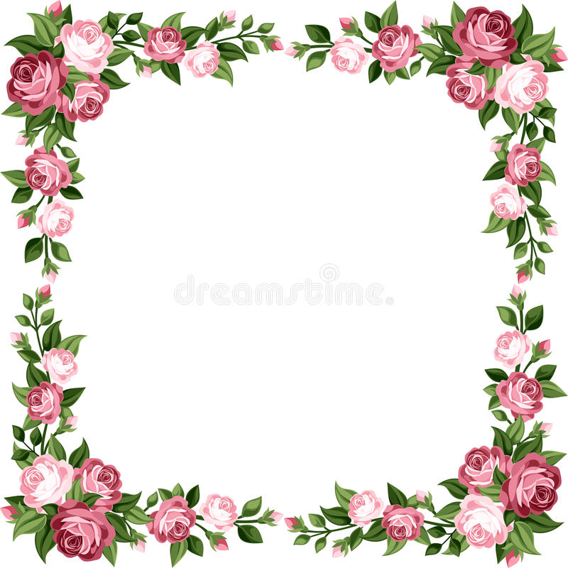 Vintage frame with pink roses. Vintage frame with pink roses, rose buds and green leaves on a white background royalty free illustration