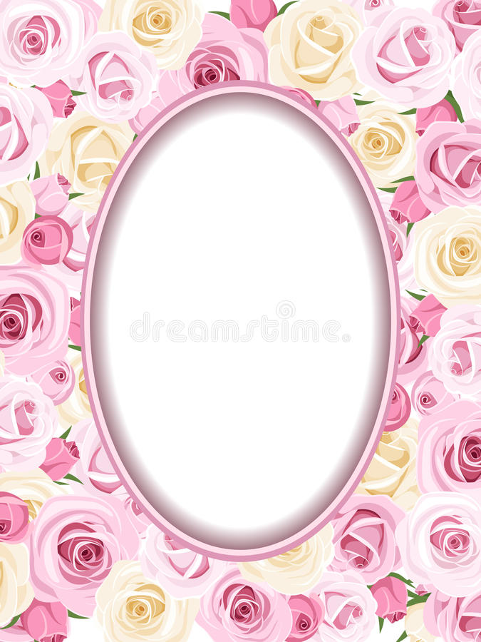 Vintage Oval Frame With Pink And White Roses Buds