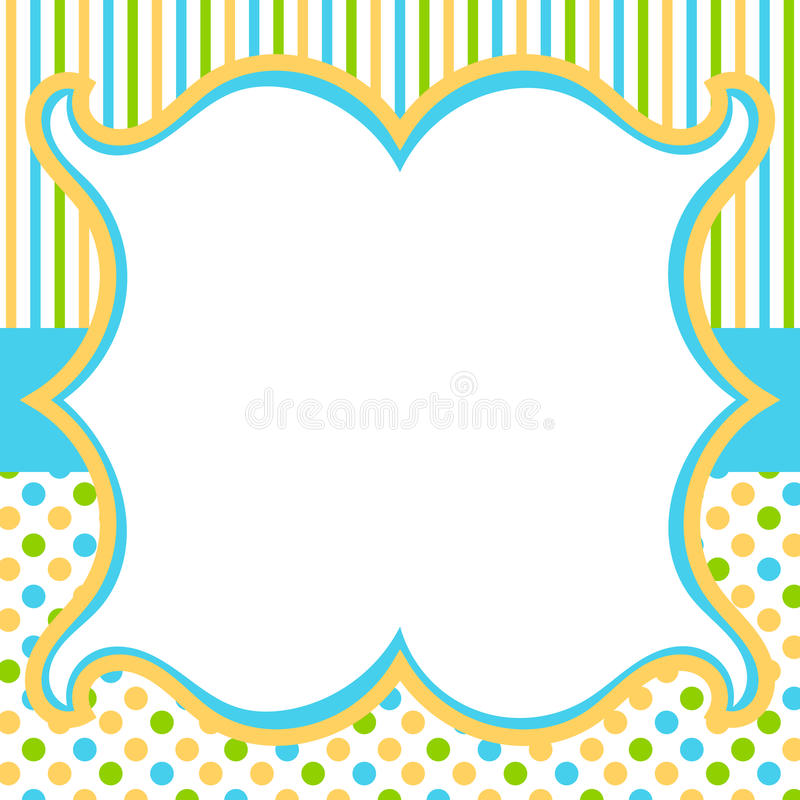 Vintage frame with polka dots and stripes background stock photography