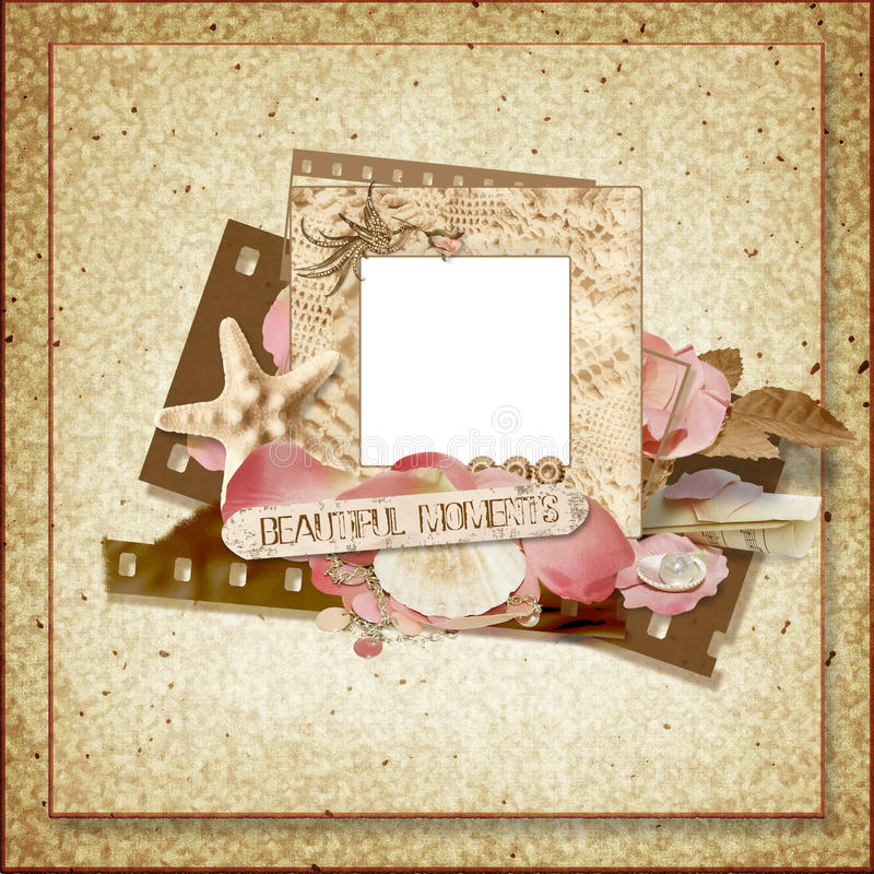 Vintage frame with rose petals and seashells stock illustration