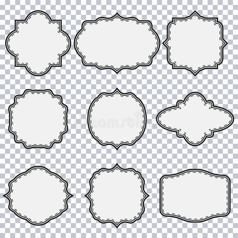 Vintage frame set. Blank liner border shape. Design. Elements for card, logo, poster. Vector illustration stock illustration