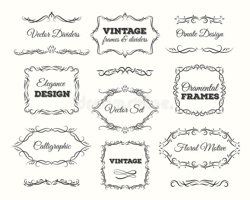 Vintage frame set. Ornate frames and scroll elements. Calligraphic Page Dividers. Vector decoration vector illustration