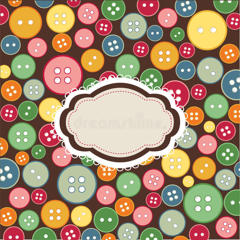 Vintage frame, sewing buttons background stock illustration