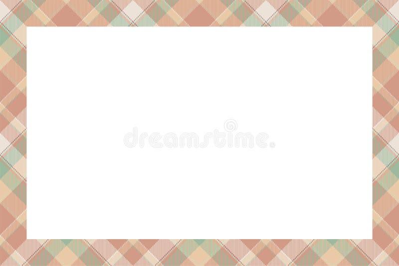 Vintage frame vector. Scottish border pattern retro style. Tartan plaid ornament. stock illustration