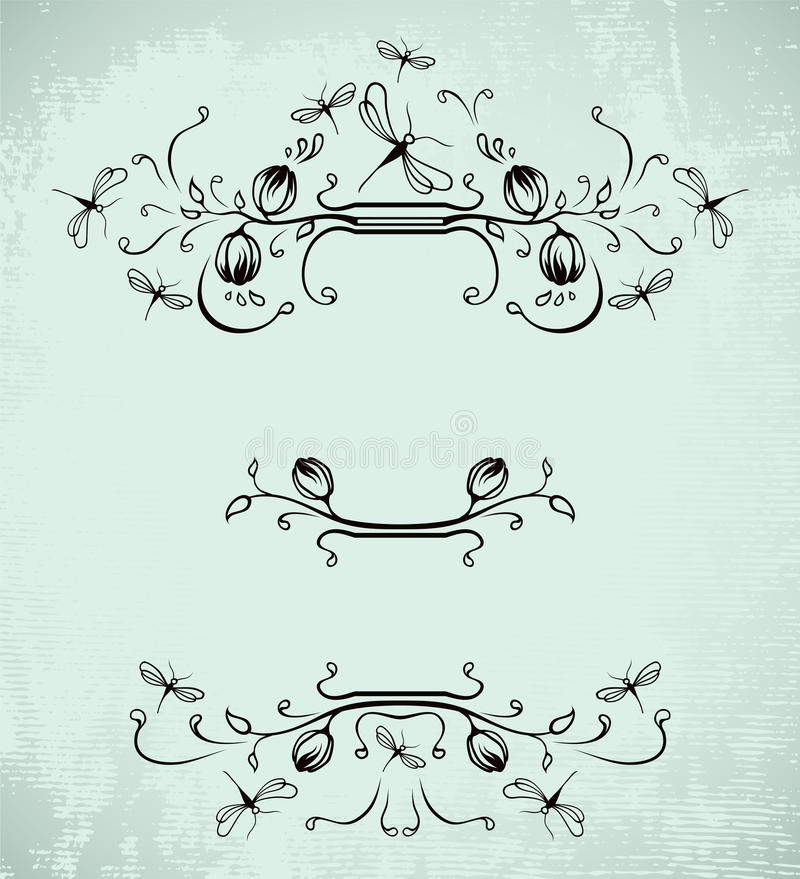 Free Vintage Frame With Dragonflies Stock Photography - 13658502