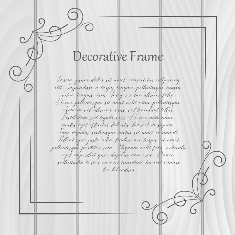 Vintage frame on wooden background. Vector. Illustration stock illustration