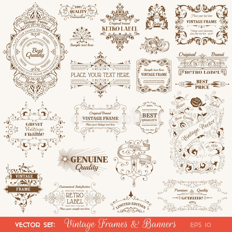 Vintage Frames and Banners, Calligraphic Elements stock illustration