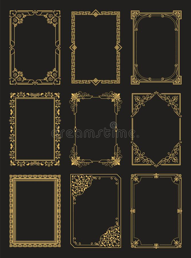 Vintage Frames Collection Golden Borders Isolated royalty free illustration