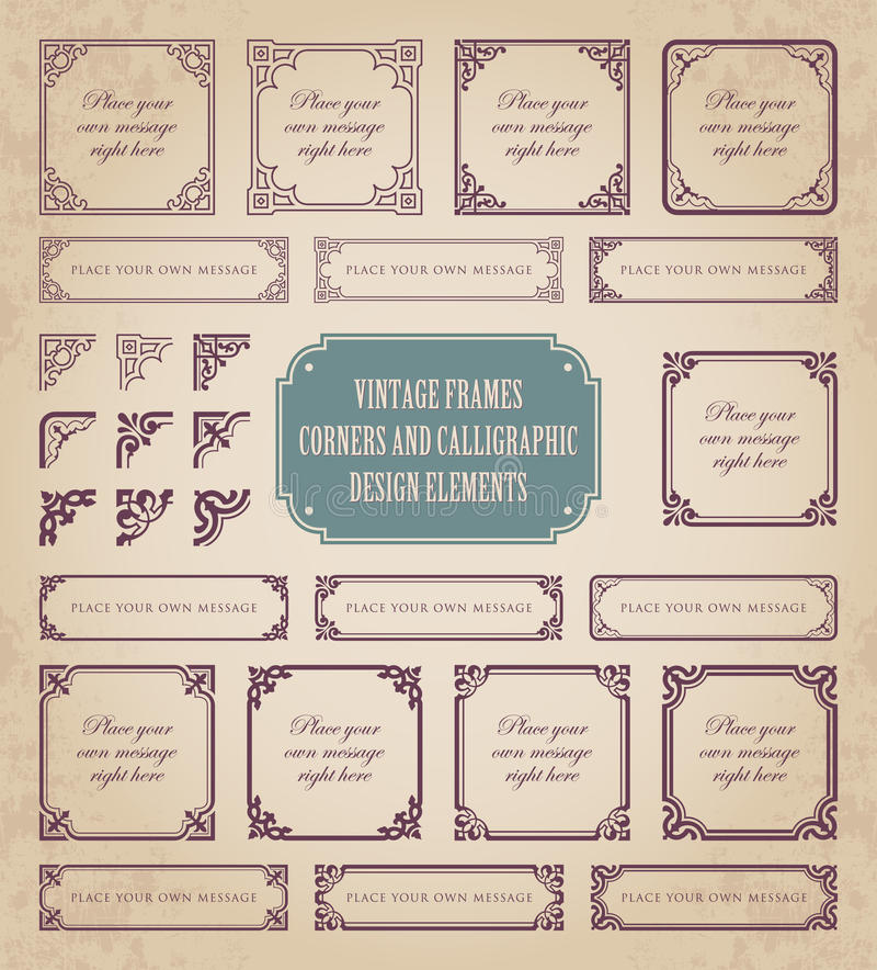 Free Vintage Frames, Corners And Calligraphic Design Elements Stock Photo - 76196250