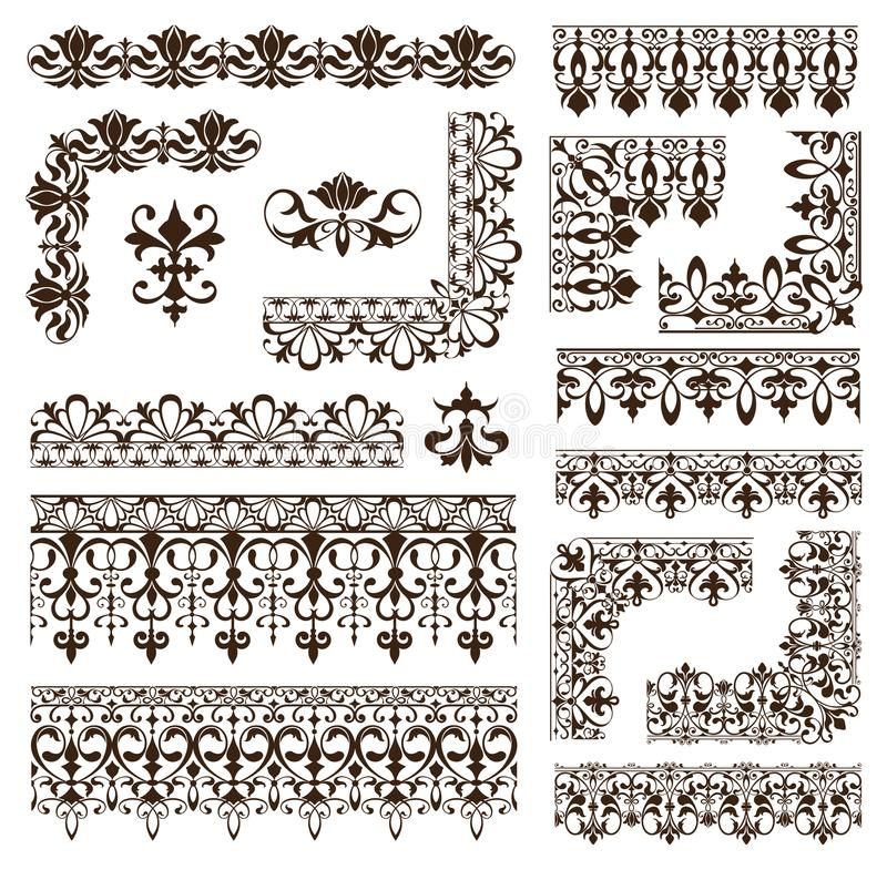 Vintage frames, corners, borders with delicate swirls in Art Nouveau for decoration and design works with floral motifs vintage st vector illustration