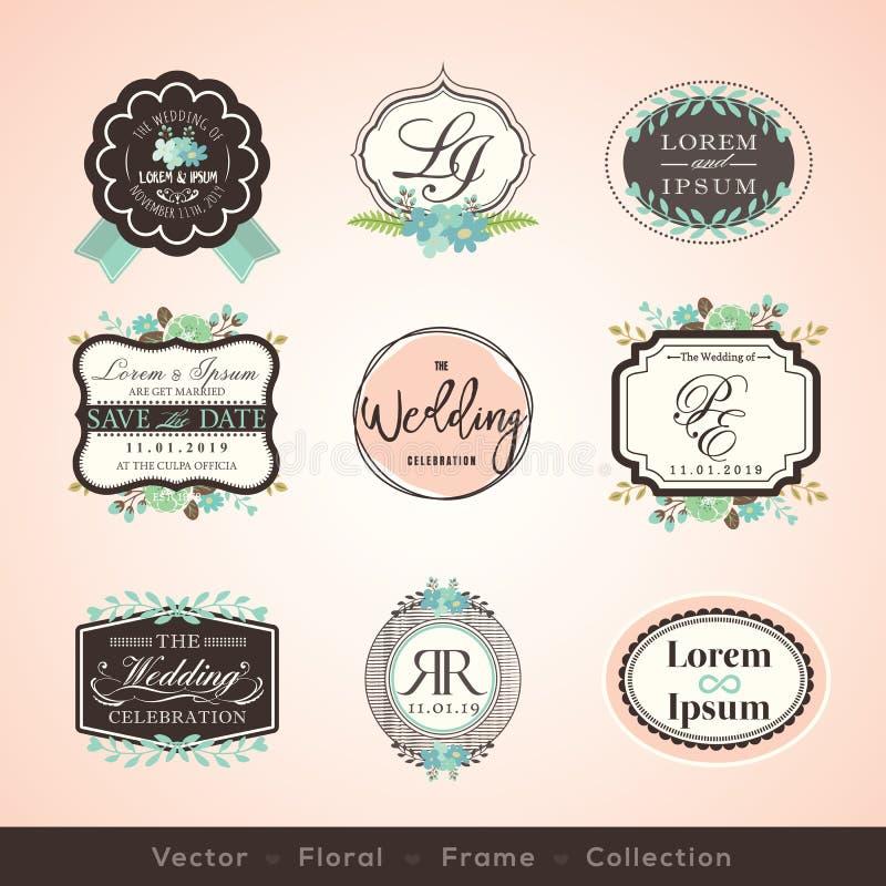Vintage frames and design elements for wedding invitation vector illustration