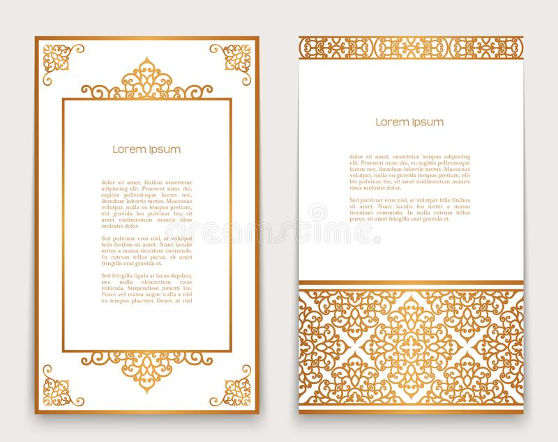 Vintage frames with gold border and corner pattern vector illustration