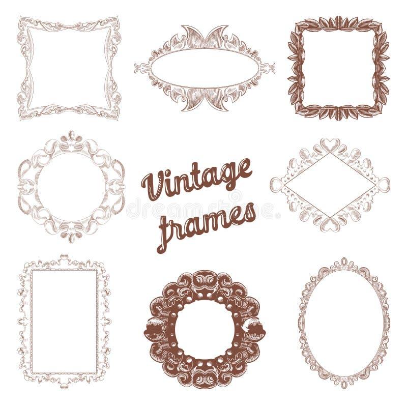 Vintage Frames Hand Drawn Set. Retro Decorative Design Elements vector illustration