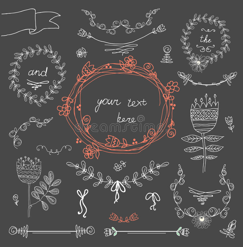 Vintage Frames And Handdrawn Floral Royalty Free Stock Photo