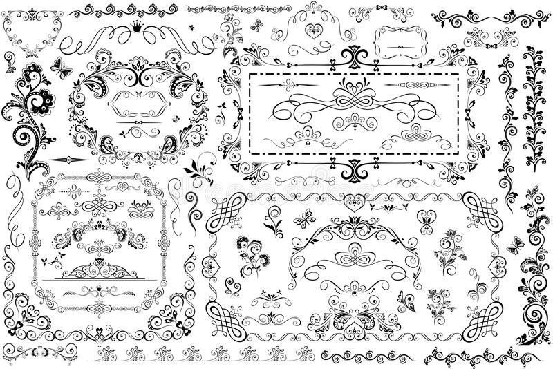 Vintage frames and heading. Collection of vintage frames and heading royalty free illustration