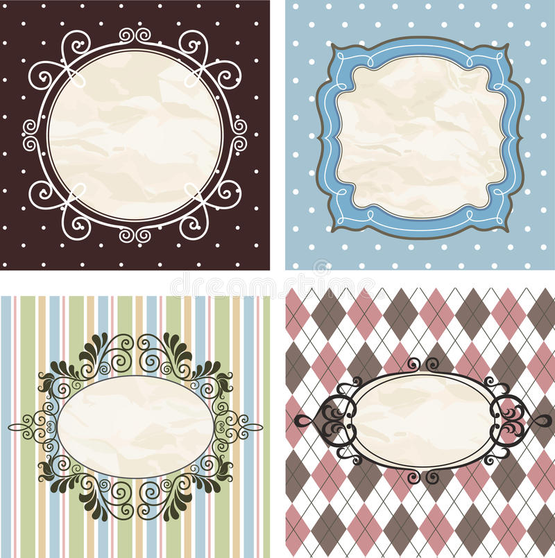 Free Vintage Frames On The Old Fabric. Set. Royalty Free Stock Images - 22371949