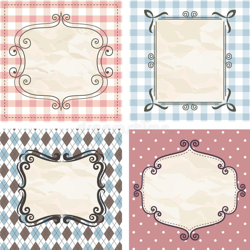 Free Vintage Frames On The Old Fabric. Set. Stock Photography - 22371952