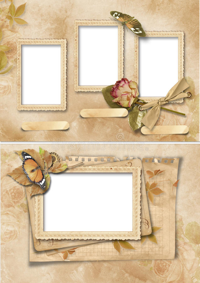 Vintage Frames Set. Family Album Stock Illustration - Illustration ...