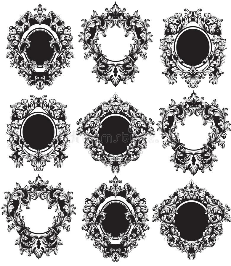 Vintage Frames set Vector. Classic rich ornamented carved decors. Baroque sophisticated intricate designs. Vintage Frames set Vector. Classic rich ornamented royalty free illustration