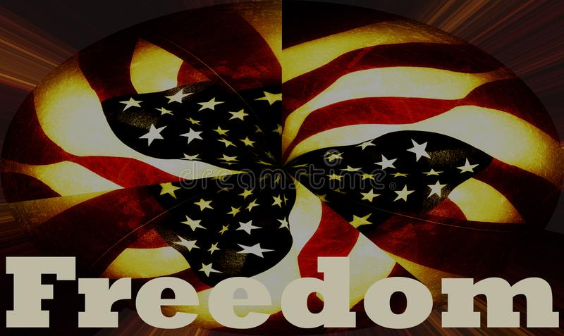 Freedom banner with United States American flag background stock image