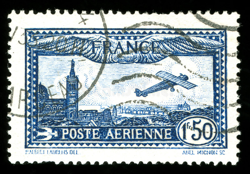 Vintage French aircraft stamp royalty free stock photography