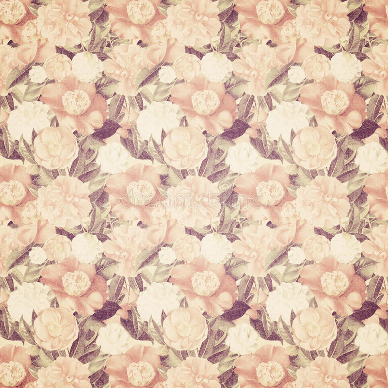 Vintage french floral shabby floral chic wallaper. Antique Vintage floral shabby chic wallpaper in soft peach and brown colors stock photography