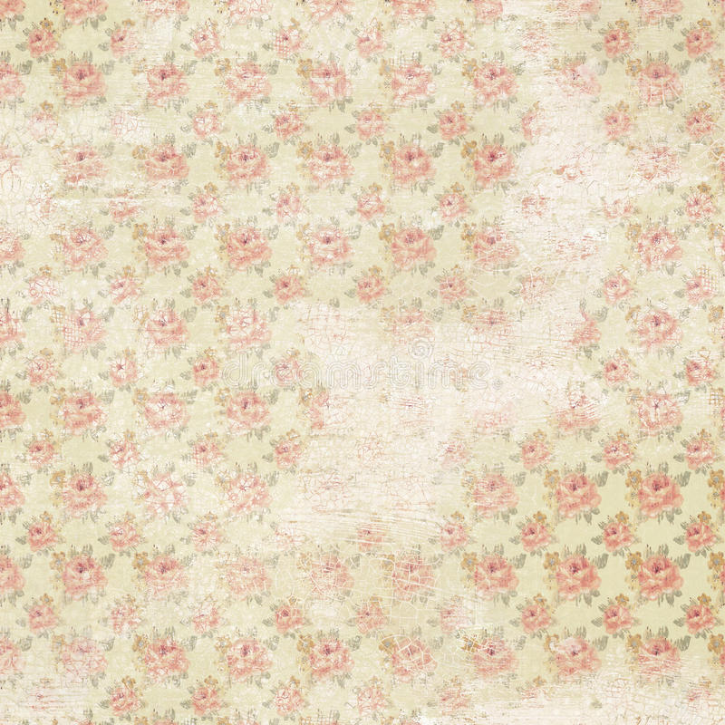 Vintage french floral shabby rose chic wallaper. Antique Vintage floral shabby chic distressed wallpaper with roses stock images