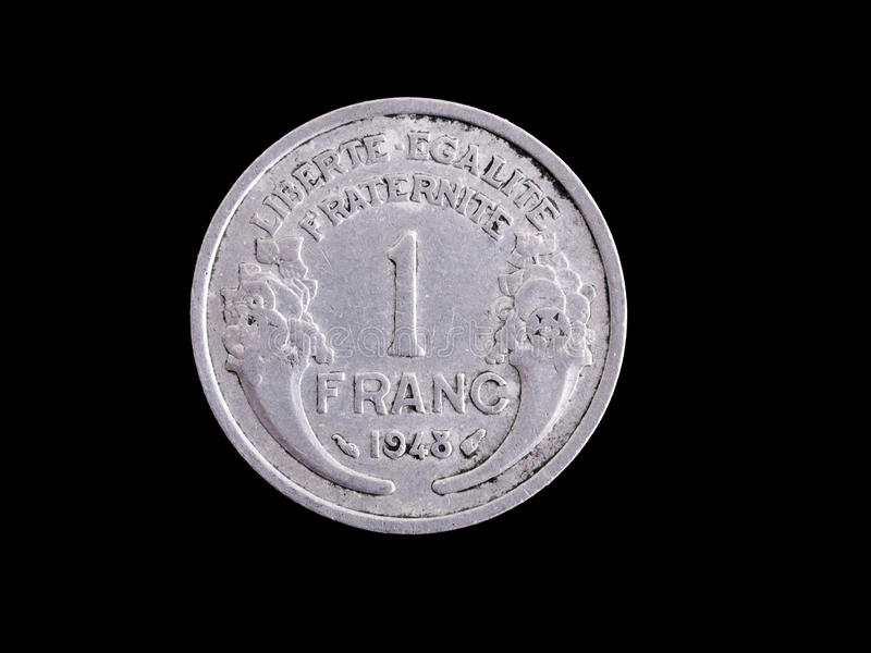 Vintage French Franc coin royalty free stock photography