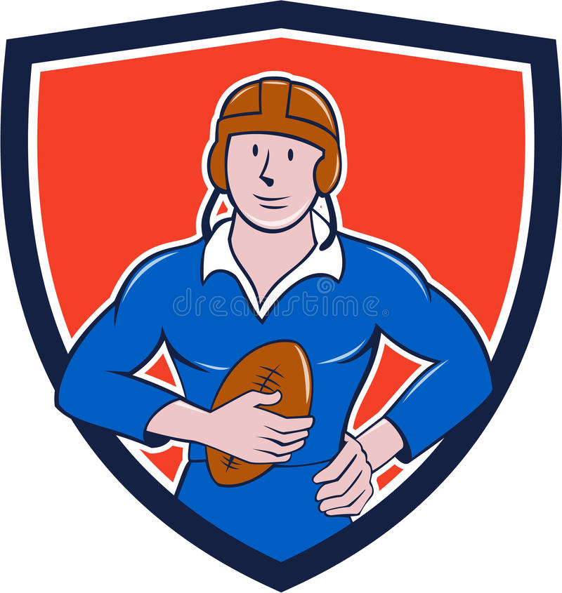 Vintage French Rugby Player Holding Ball Crest Cartoon. Illustration of a vintage French rugby player holding ball facing front set inside crest shield done in royalty free illustration