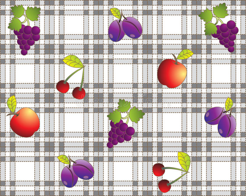 Download Vintage Fruit Design Tablecloth Stock Vector - Illustration of cherry, poster: 20084927