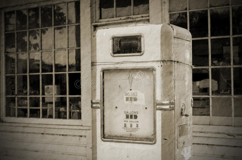 Vintage fuel pump (BW) royalty free stock photography