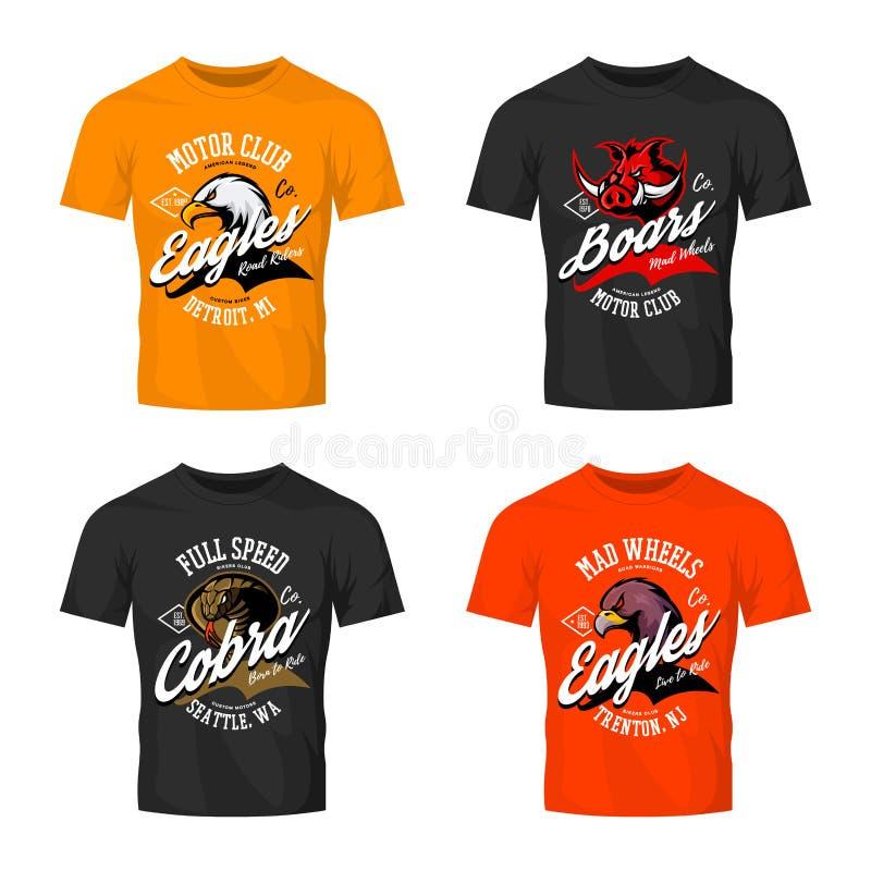 Vintage furious eagle, boar, cobra bikers club tee print vector design isolated on t-shirt mockup. Street wear t-shirt emblem set. Premium quality wild animal vector illustration