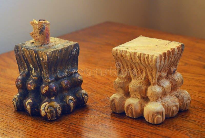 Vintage furniture leg reconstruction wood carving royalty free stock photos