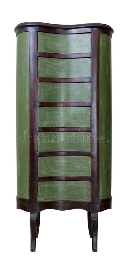 Vintage wooden antique seven drawer chest painted in green and dark brown isolated on white background including clipping path. Vintage Furniture - Retro wooden stock images