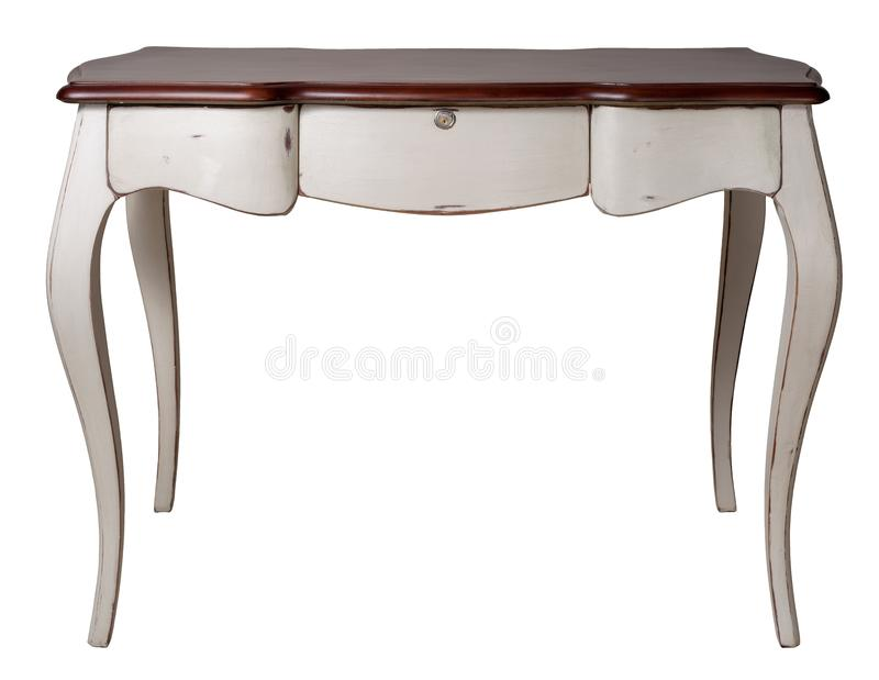 Retro wooden desk table with white legs and three drawers isolated on white background including clipping path. Vintage Furniture - Retro wooden desk table with royalty free illustration