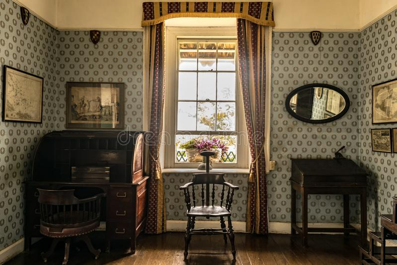 VIntage items inside a room at an old great house stock photo