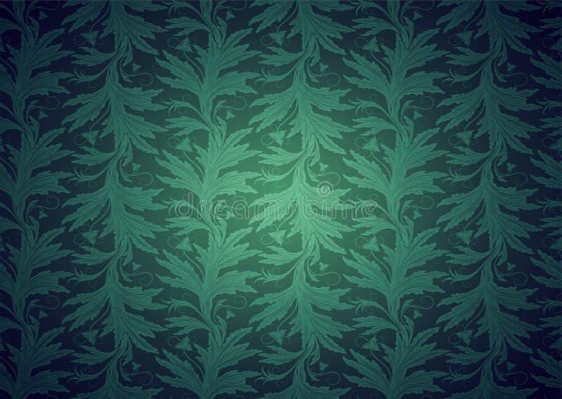 Vintage gótico, fondo real en verde con el modelo barroco floral clásico ilustración del vector